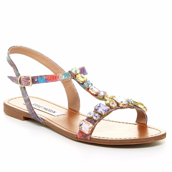 cef6a5c8e4a Steve Madden Multi-Color Jeweled BELLOW Sandal 9